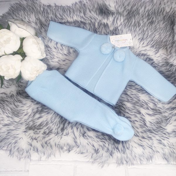 Baby Boys Blue Pom Pom Cardigan & Trouser Set