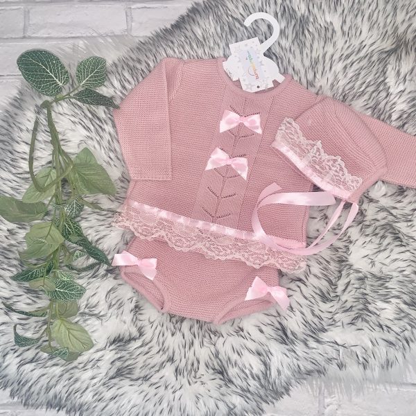 Baby Girls Dusty Pink Knitted Outfit