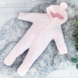 Baby Girls Pink Knitted Onesie with Hood