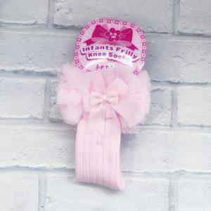 Baby Girls Pink Frill Knee high socks