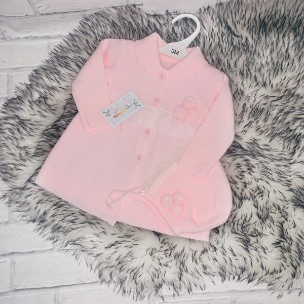 Baby Girls Pink Knitted Cardigan & Bonnet