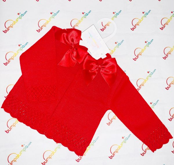 Baby Girls Red Cardigan with Bows