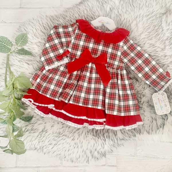 Baby Girls Red Tartan Dress with Frills