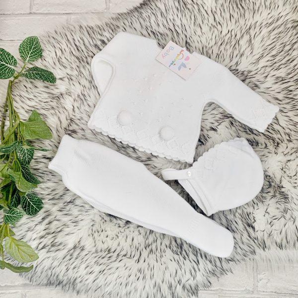 Unisex Baby White Pom Pom Set