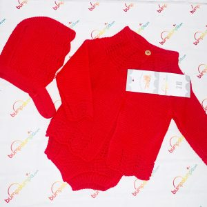 Unisex Red Knitted 3 Piece Set