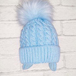 Baby Blue Pom Pom Hat with Ear Covering