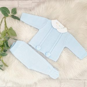 Baby Boys Blue Knitted Jumper & Trousers