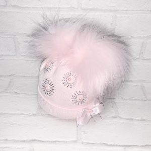 Pink Diamond Double Pom Pom Hat