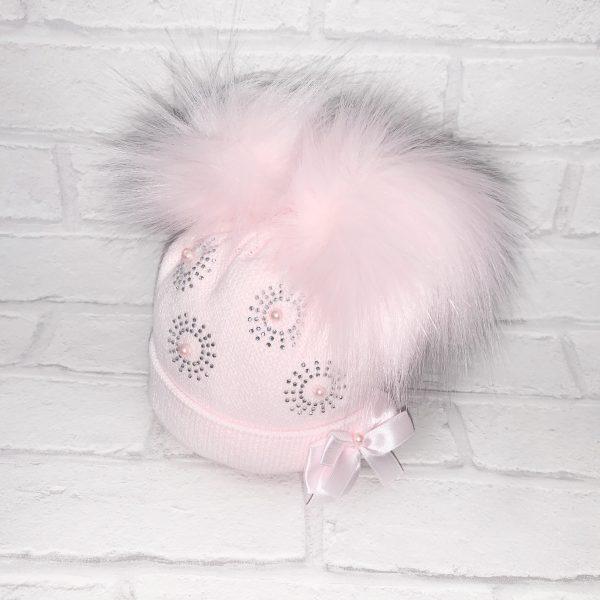 Pink Diamond Double Pom Pom Hat