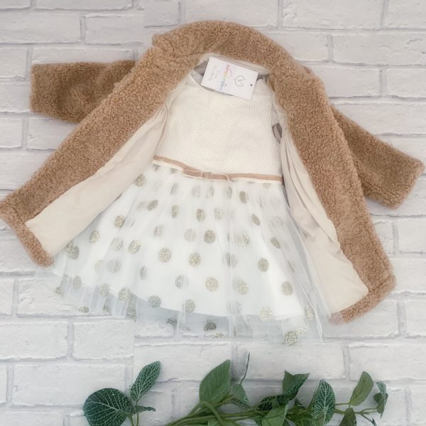 Baby Girls Beige Coat & Dress Set