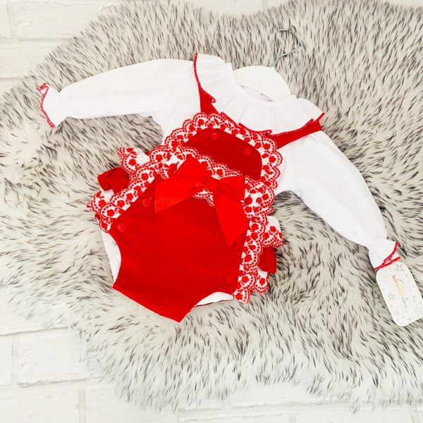 Baby Girls Red Dungaree Set