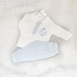 Baby Boys Blue & Ivory Prince Set