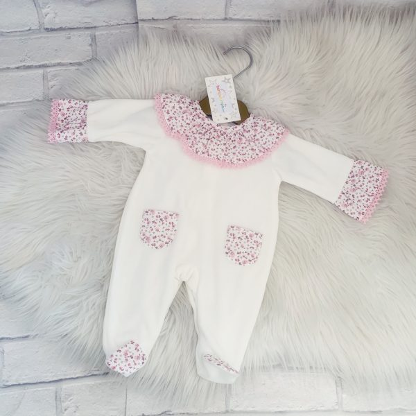 Baby Girls Ivory Fleece Babygrow with Floral Detail