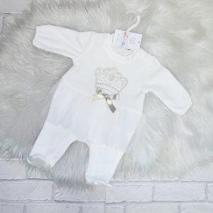 Baby Girls Ivory Tutu & Crown Babygrow