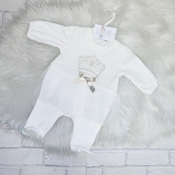 Baby Girls Ivory Tutu & Crown Babygrow