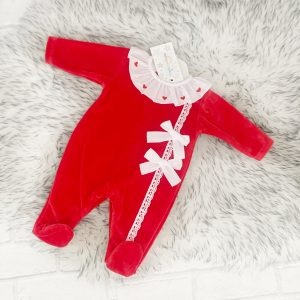 BABY GIRLS RED COAT WITH FUR