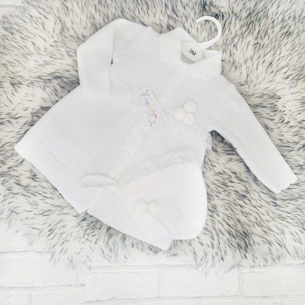 Baby Girls White Knitted Cardigan & Bonnet