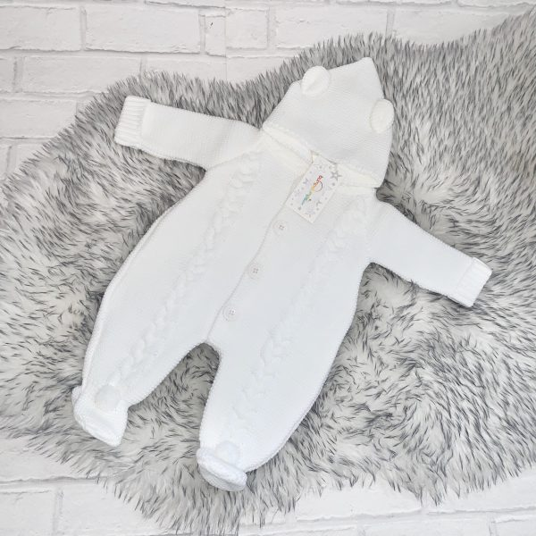 Unisex White knitted Pram Suit
