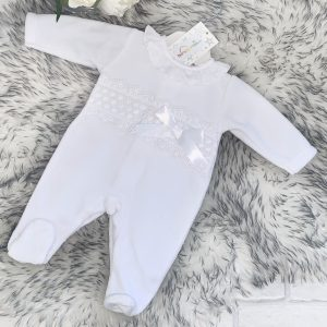 White Fleece Baby Grow With Lace Detail