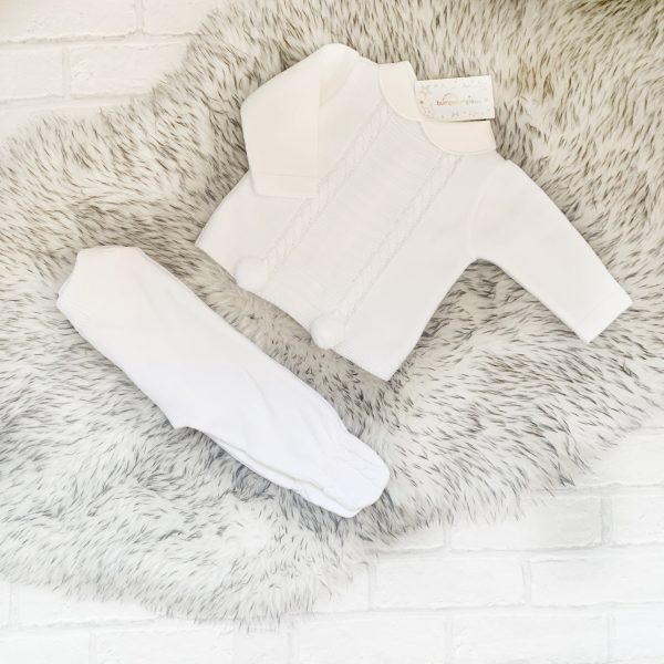 White Baby Jumper & Trousers Set