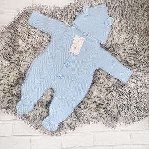 Baby Boys Blue Cable Knitted Pram Suit
