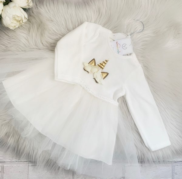 Baby Girls Ivory Unicorn Tutu Dress