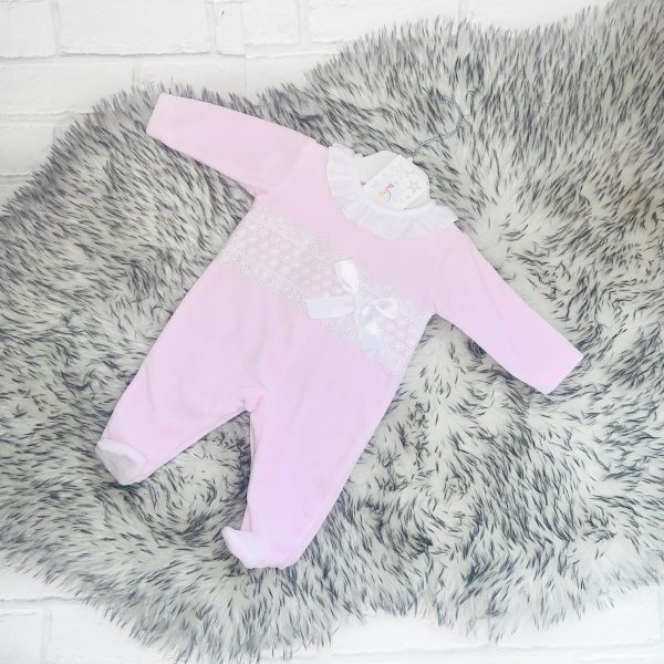 Baby Girls Pink Babygrow with Lace Bodice