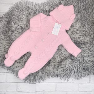 Baby Girls Pink Knitted Pram Suit