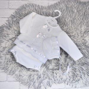 Baby Girls White Knitted Lace & Bow Set