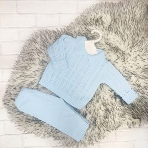 Baby Boy Blue knitted Jumper & Trousers