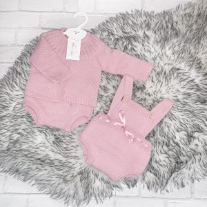 Baby Girls Dusty Pink Dungaree Set