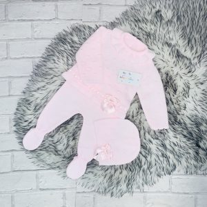 Baby Girls Pink Jumper Trousers & Hat Set