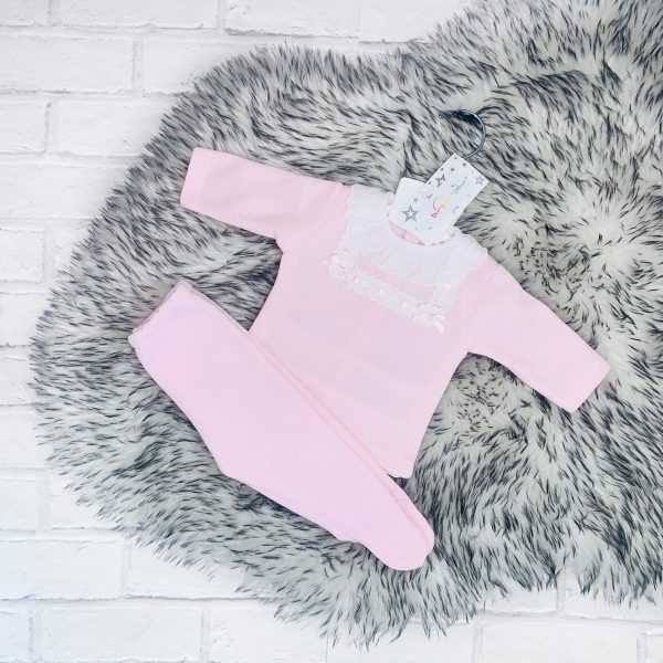 Baby Girls Pink Outfit with Cotton Frill