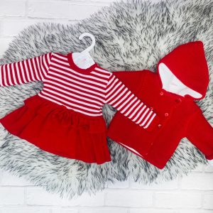 Baby Girls Red Stripe Dress & Jacket