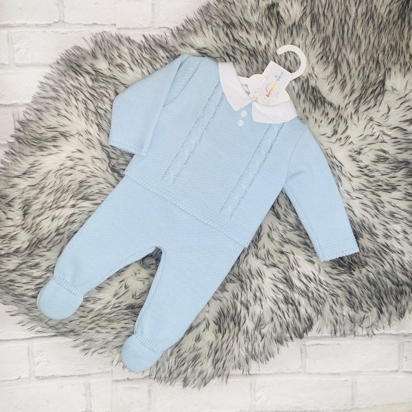 Baby Boys Blue Top & Covered Feet Set