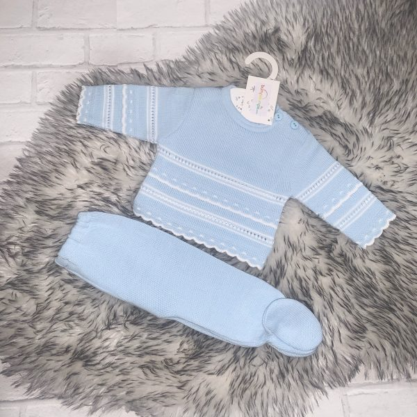 Baby Boys Blue & White Knitted Set