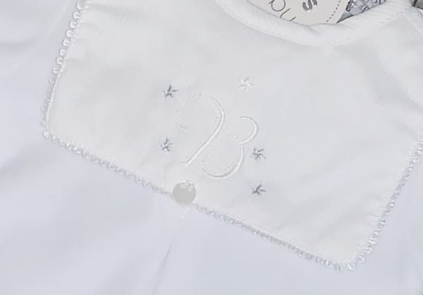 Unisex White Fleece Bib Babygrow