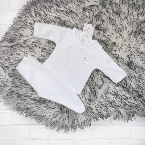 Unisex White Knitted Jumper & Trousers