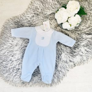 Baby Boys Blue Babygrow with White Collar