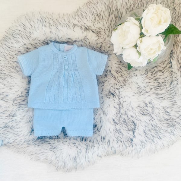 Baby Boys Blue Knitted Top & Shorts Set