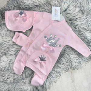 Baby Girls Pink Crown Babygrow Set