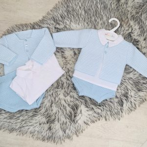 Baby Boys Blue & White Three Piece Outfit