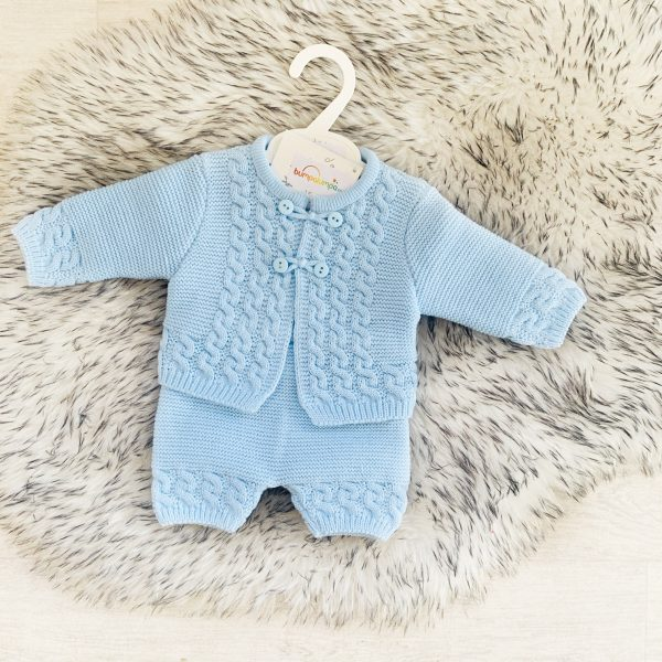 Baby Boys Blue Knit Cardigan & Shorts Set