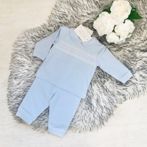 Baby Boys Blue Jogging Suit with Smocking