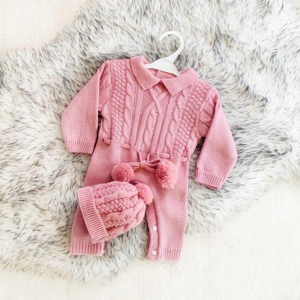 Baby Girls Dusty Pink Onesie & Hat