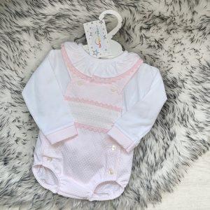 Baby Girls Pink Dungaree Shorts Set