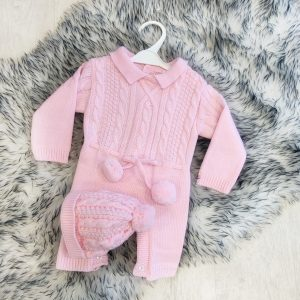 BABY GIRLS PINK DUNGAREE SHORTS SET