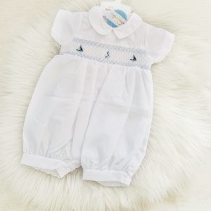 Baby Boys White Summer Romper Suit