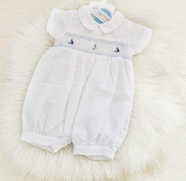 Baby Boys White Summer Romper Suit