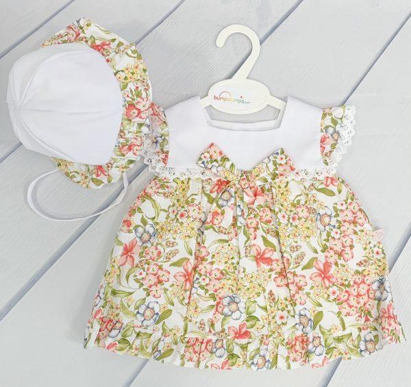 Baby Girls Floral Dress & Hat Set